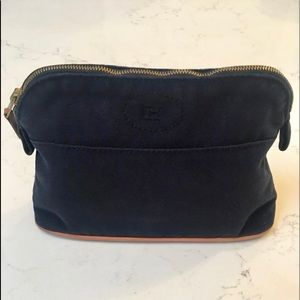 Hermes blue canvas mini Bolide cosmetic pouch bag.
